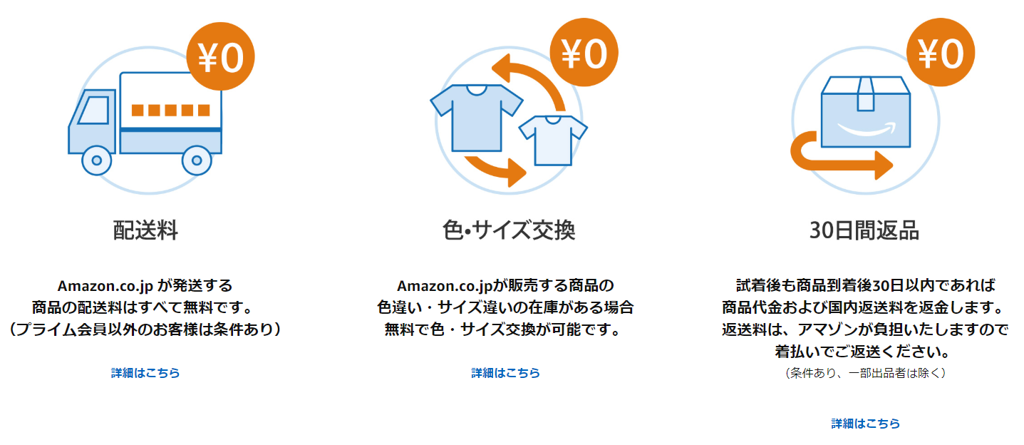 アマゾンの返品・サイズ変更